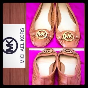 MICHAEL KORS Saddle Woven Cushioned FLATS MK logo